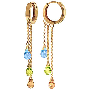 Gemstone Trilogy Droplet Earrings 4.8 ctw in 9ct Gold