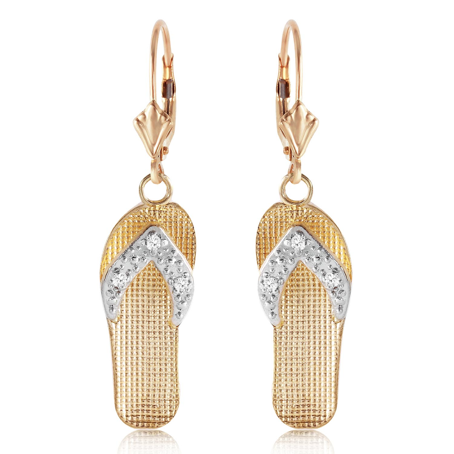 Diamond Sandal Drop Earrings in 9ct Gold