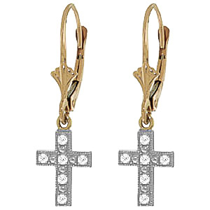 Diamond Cross Drop Earrings in 9ct Gold
