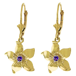 Amethyst Flower Star Drop Earrings 0.2ctw in 9ct Gold