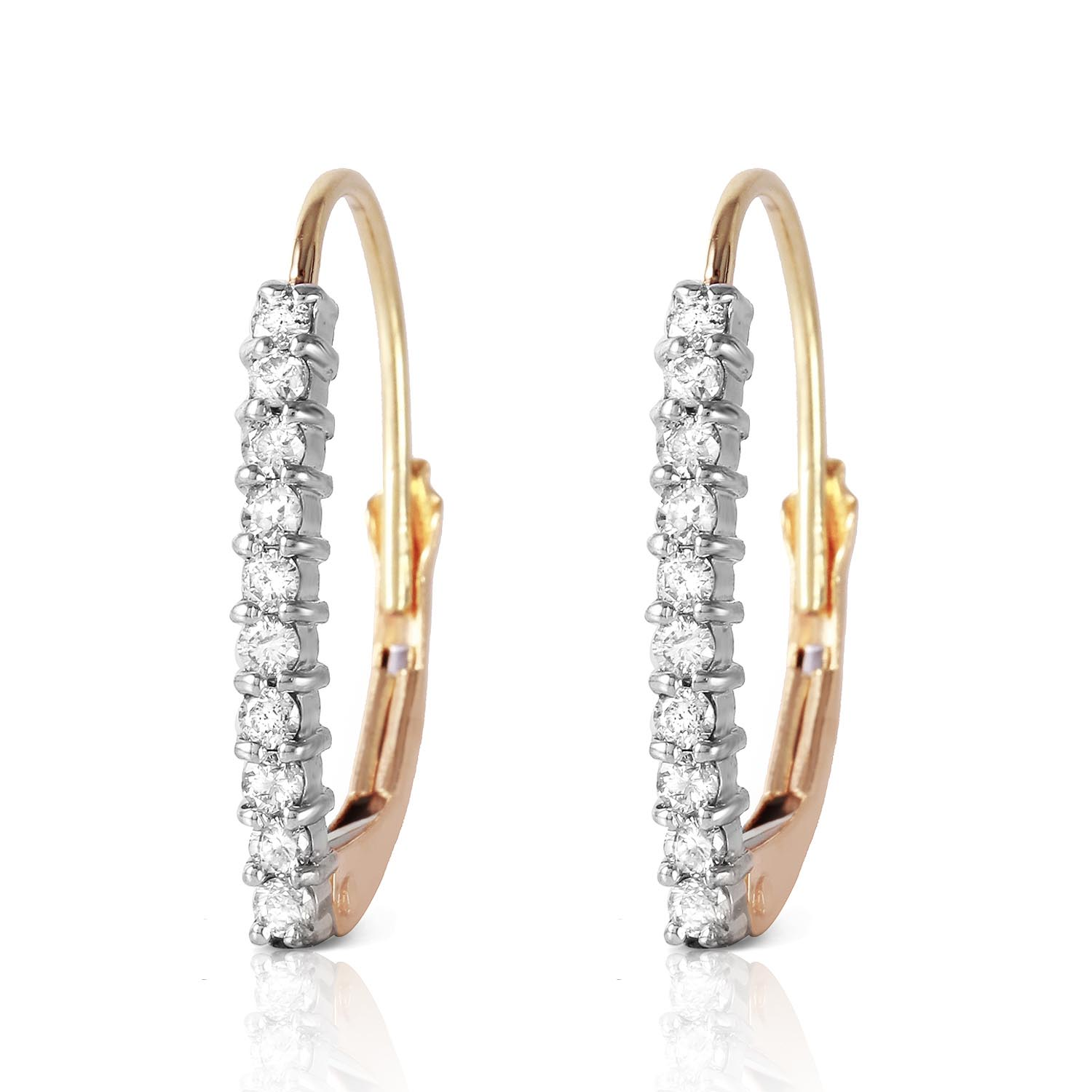 Diamond Laced Stem Drop Earrings in 9ct Gold