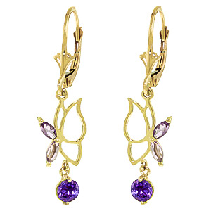 Amethyst Butterfly Drop Earrings 0.35ctw in 9ct Gold