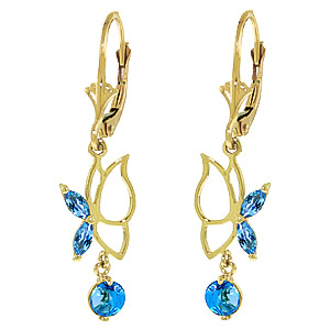 Blue Topaz Butterfly Drop Earrings 0.35ctw in 9ct Gold