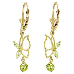 Peridot Butterfly Drop Earrings 0.35ctw in 9ct Gold