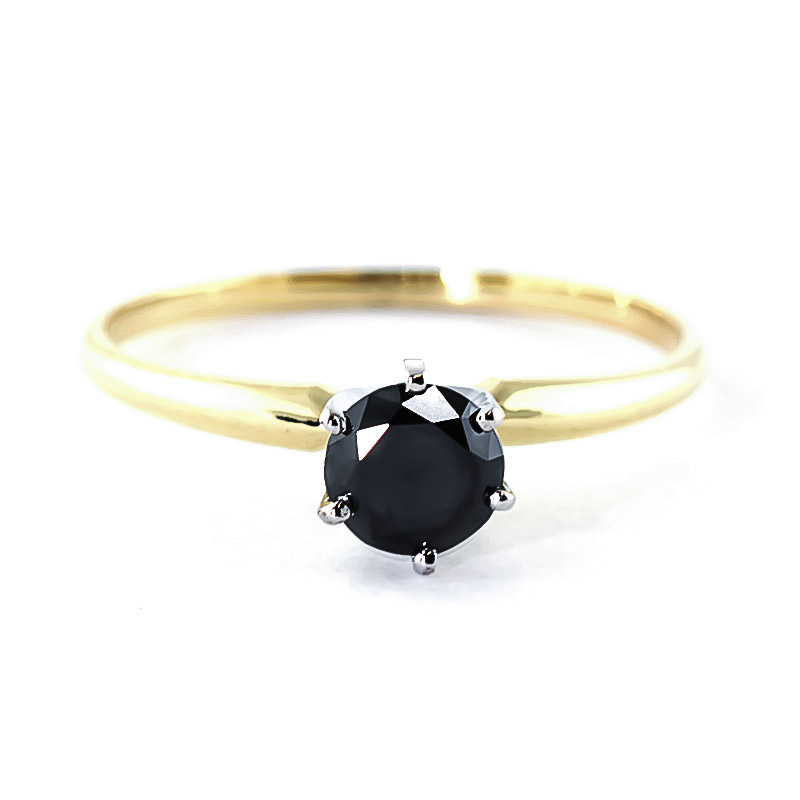 Black Diamond Crown Solitaire Ring in 9ct Gold