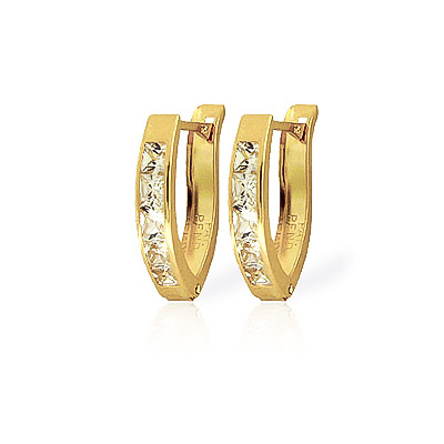 Cubic Zirconia Huggie Earrings 0.5ctw in 9ct Gold