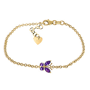 Image of Amethyst Adjustable Butterfly Bracelet 0.6ctw in 9ct Gold