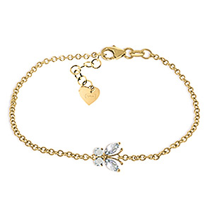 Aquamarine Adjustable Butterfly Bracelet 0.6ctw in 9ct Gold