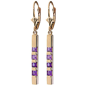 Amethyst Bar Drop Earrings 0.7ctw in 9ct Gold