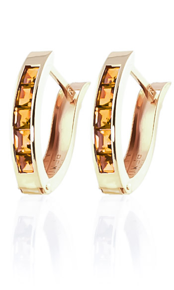 Citrine Acute Huggie Earrings 0.7ctw in 9ct Gold