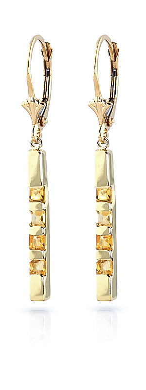 Citrine Bar Drop Earrings 0.7ctw in 9ct Gold