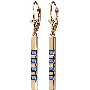 Sapphire Bar Drop Earrings 0.7ctw in 9ct Gold