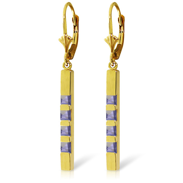 Tanzanite Bar Drop Earrings 0.7ctw in 9ct Gold