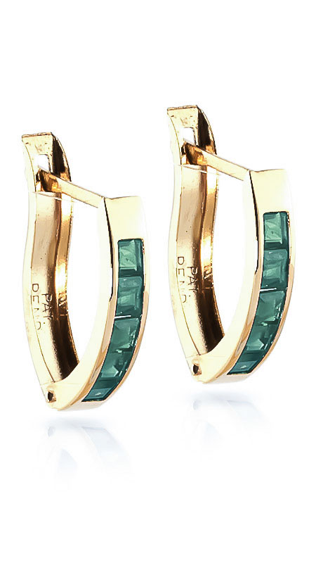 Emerald Acute Huggie Earrings 0.8ctw in 9ct Gold
