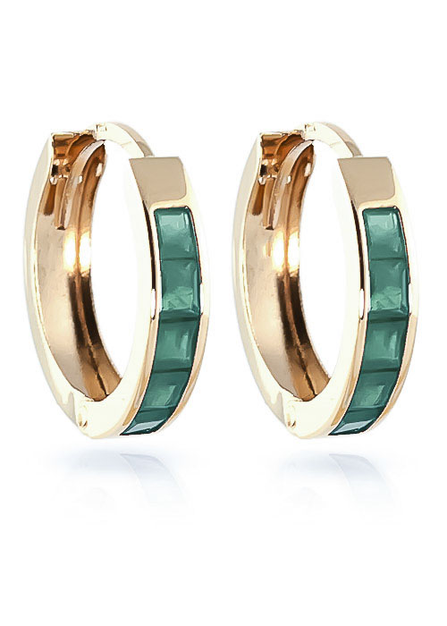 Emerald Huggie Earrings 0.8ctw in 9ct Gold