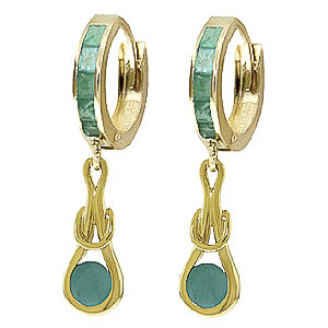 Emerald Loop Knot Huggie Earrings 0.8ctw in 9ct Gold