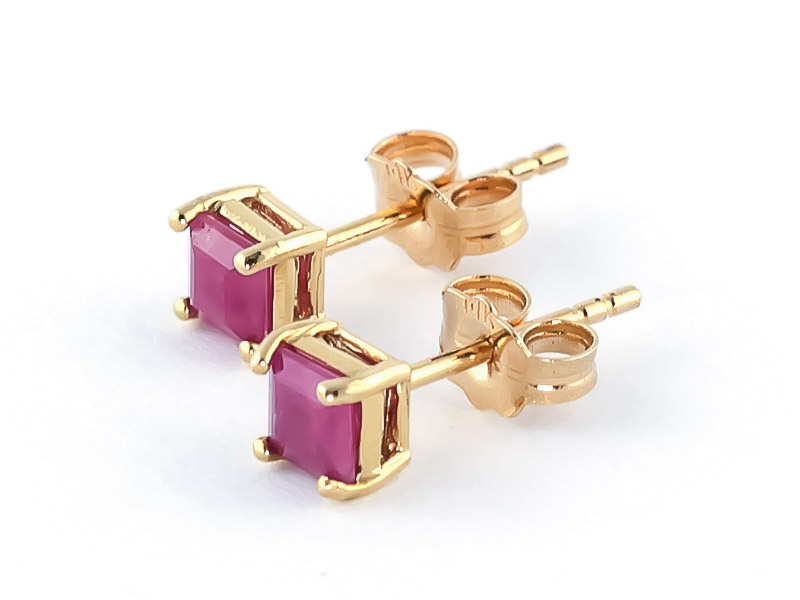 Ruby Alexandra Stud Earrings 0.8ctw in 9ct Gold