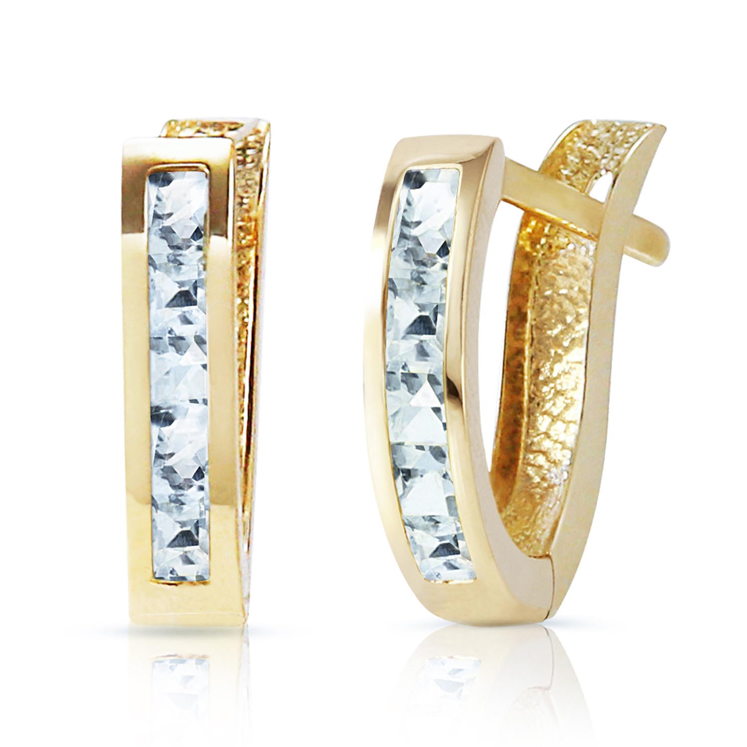 Aquamarine Acute Huggie Earrings 0.85ctw in 9ct Gold