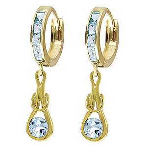 Aquamarine Loop Knot Huggie Earrings 0.85ctw in 9ct Gold