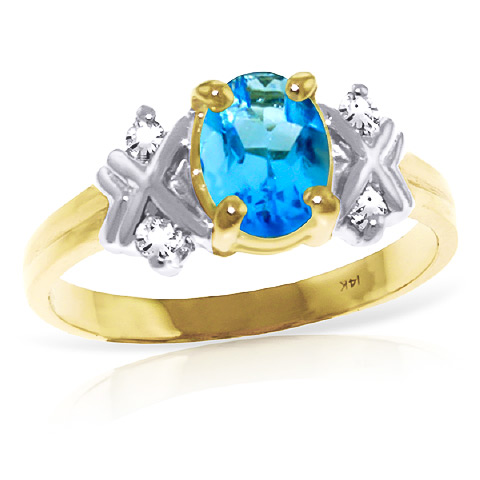 Blue Topaz and Diamond Ring 0.85ct in 9ct Gold