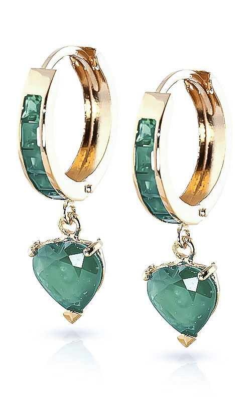 Emerald Huggie Earrings 0.85ctw in 9ct Gold