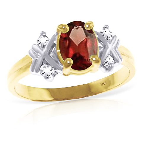 Garnet and Diamond Ring 0.85ct in 9ct Gold
