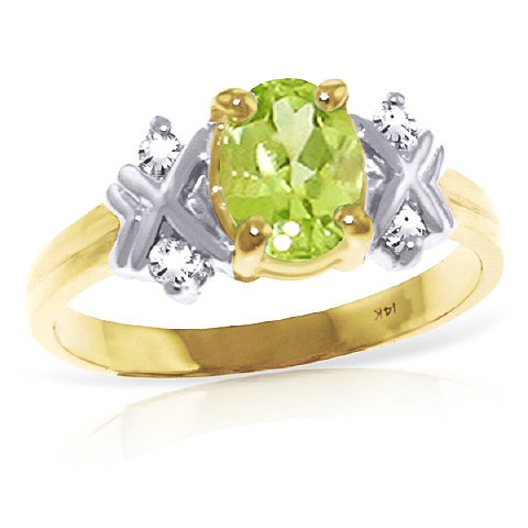 Peridot and Diamond Ring 0.85ct in 9ct Gold