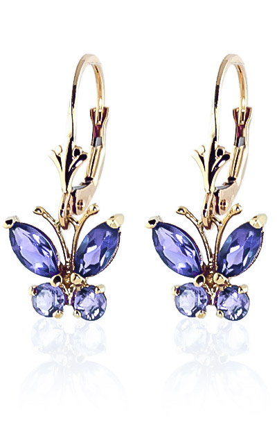 Tanzanite Butterfly Drop Earrings 0.85ctw in 9ct Gold