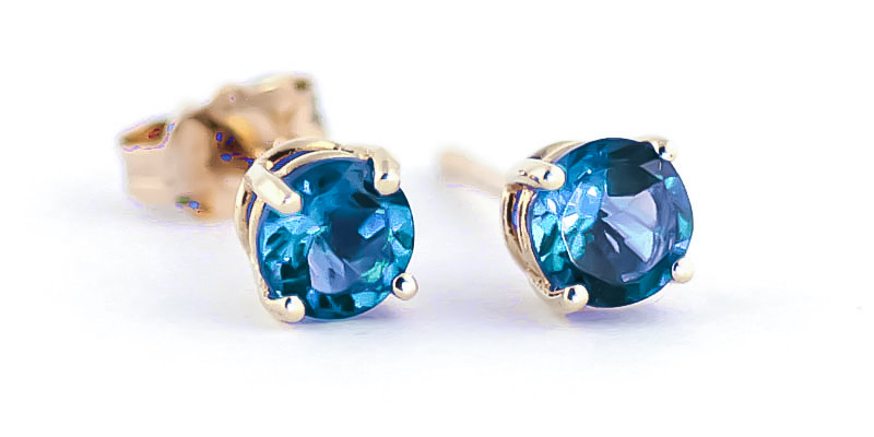 Blue Topaz Stud Earrings 0.95ctw in 9ct Gold