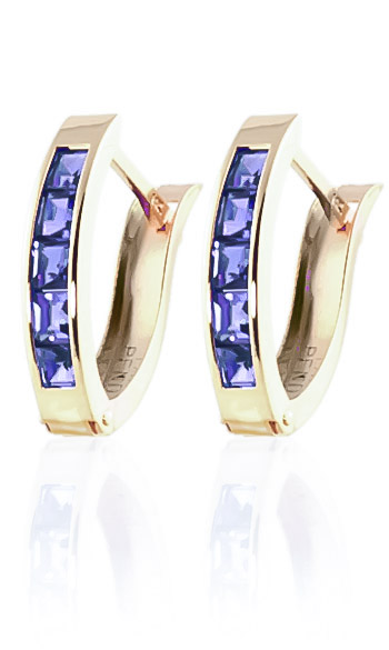 Tanzanite Acute Huggie Earrings 0.95ctw in 9ct Gold
