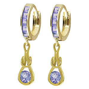 Tanzanite Loop Knot Huggie Earrings 0.95ctw in 9ct Gold