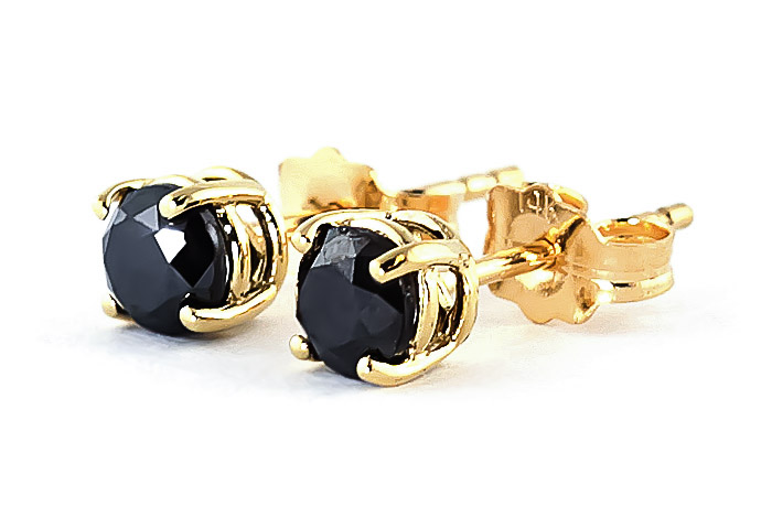 Black Diamond Stud Earrings in 9ct Gold