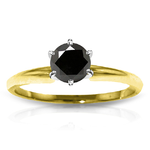 Round Brilliant Cut Black Diamond Solitaire Ring in 9ct Gold