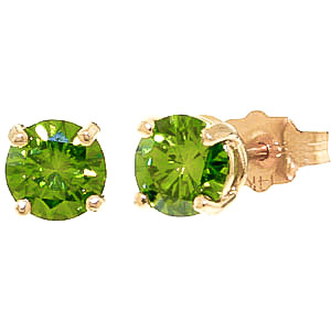 Green Diamond Stud Earrings in 9ct Gold