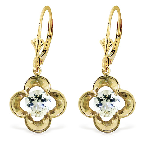 Aquamarine Corona Drop Earrings 1.1ctw in 9ct Gold