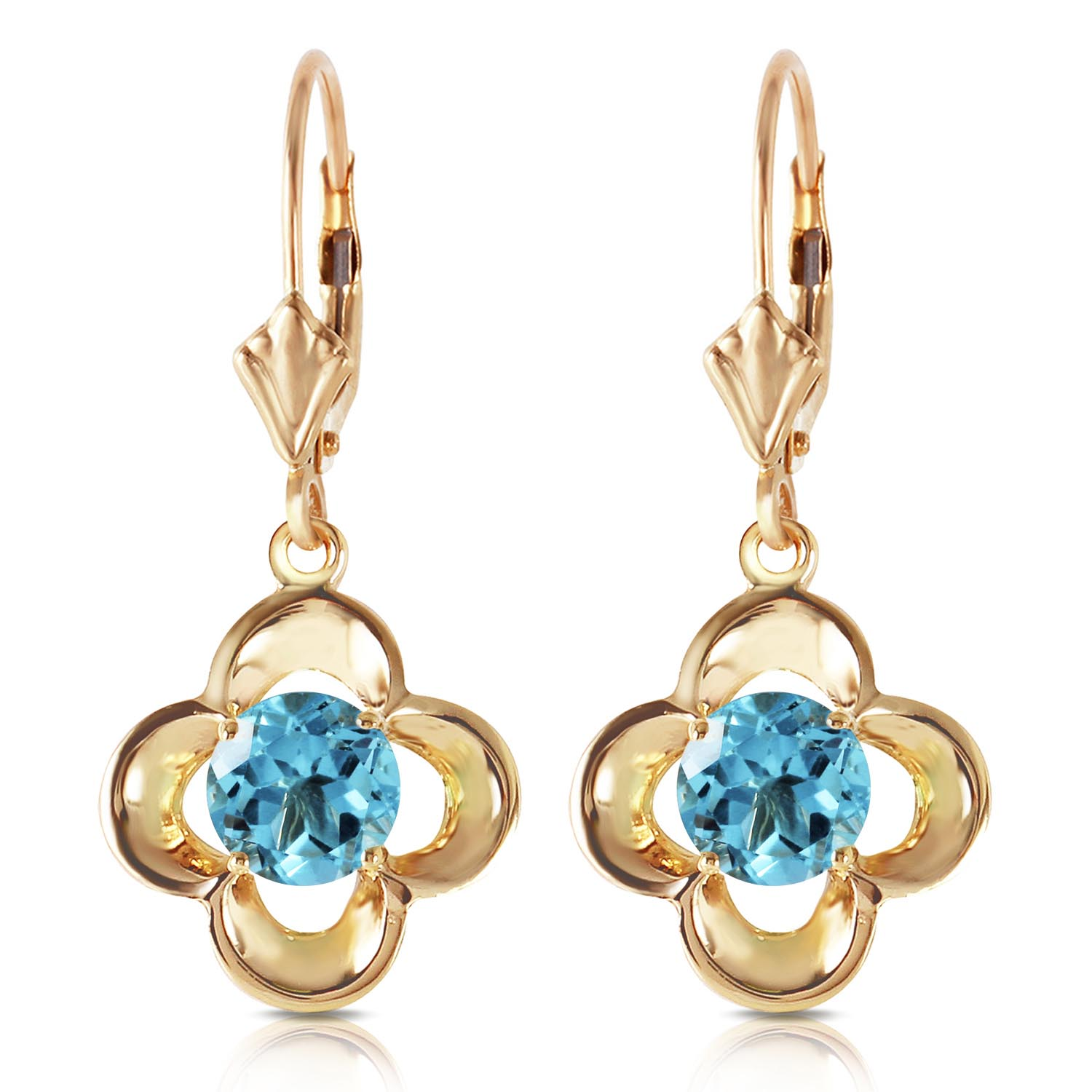 Blue Topaz Corona Drop Earrings 1.1ctw in 9ct Gold