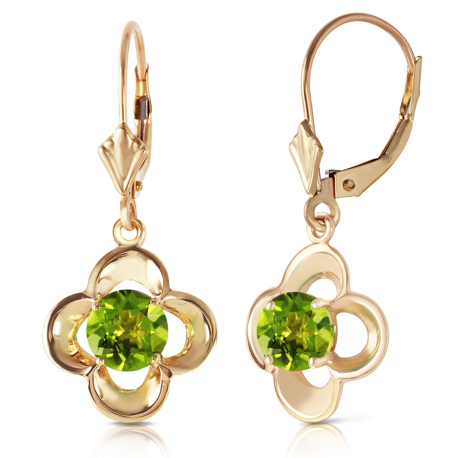 Peridot Corona Drop Earrings 1.1ctw in 9ct Gold