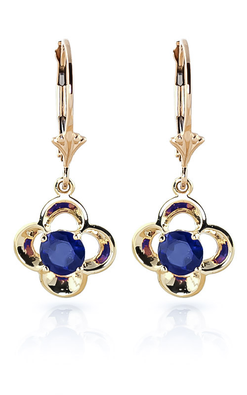 Sapphire Corona Drop Earrings 1.1ctw in 9ct Gold