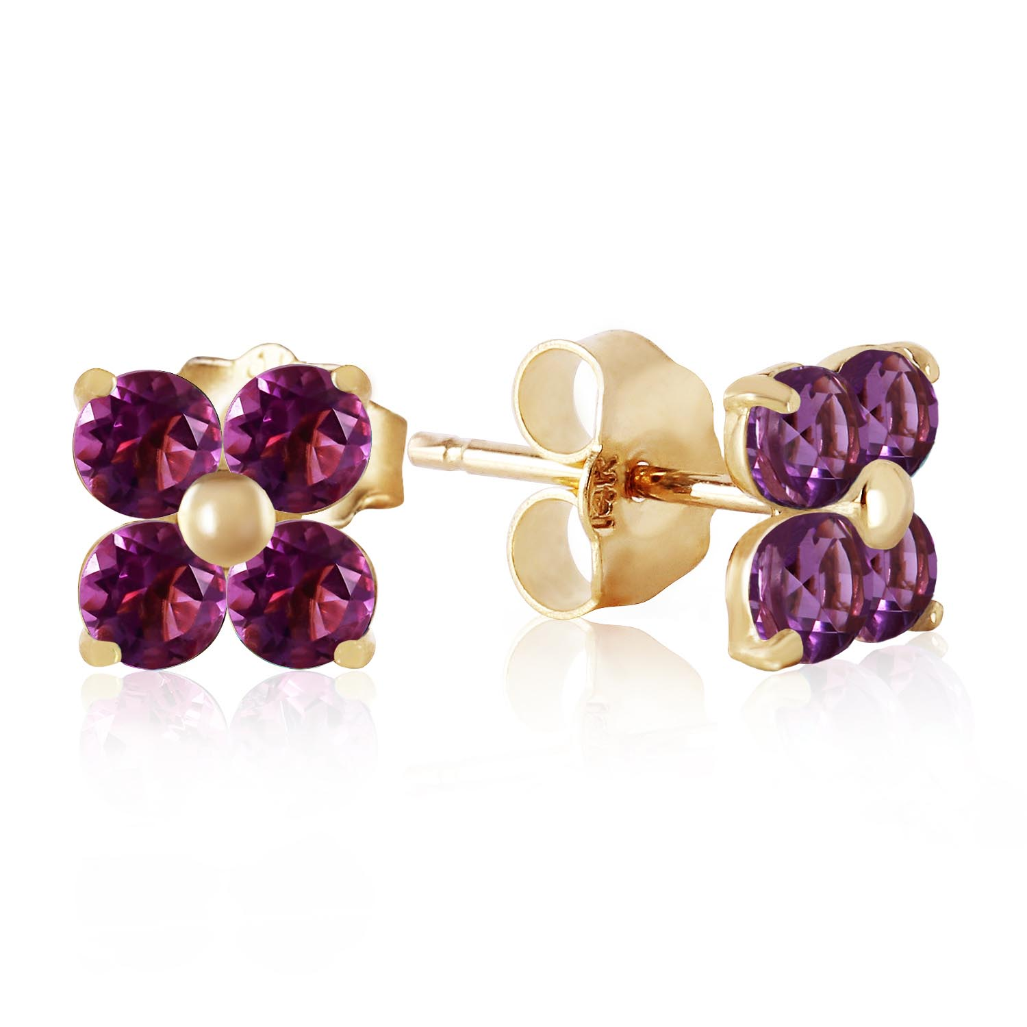 Amethyst Clover Stud Earrings 1.15ctw in 9ct Gold