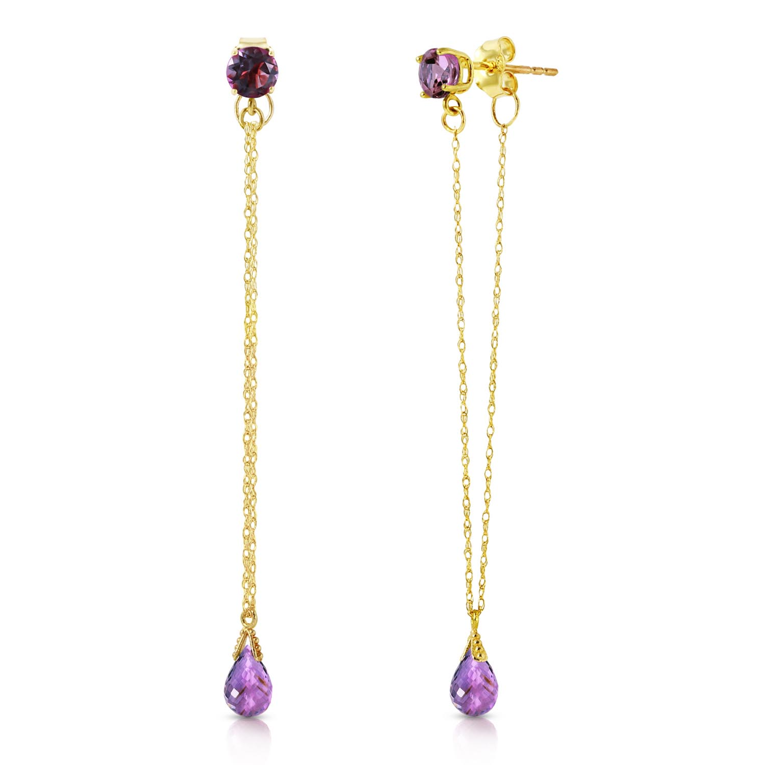Amethyst Monte Carlo Drop Earrings 1.15ctw in 9ct Gold