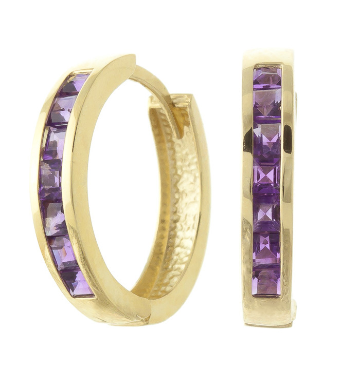 Amethyst Huggie Earrings 1.2ct in 9ct Gold