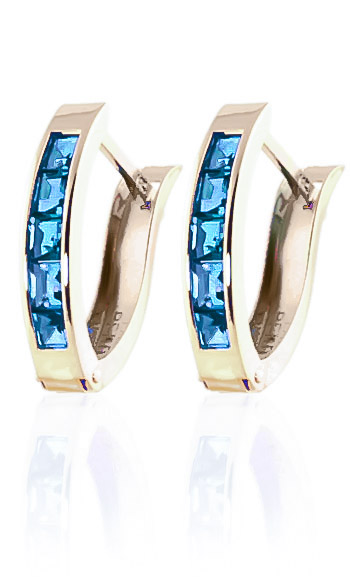 Blue Topaz Acute Huggie Earrings 1.2ctw in 9ct Gold
