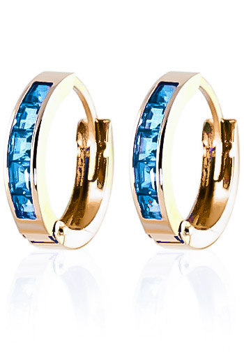 Blue Topaz Huggie Earrings 1.2ctw in 9ct Gold