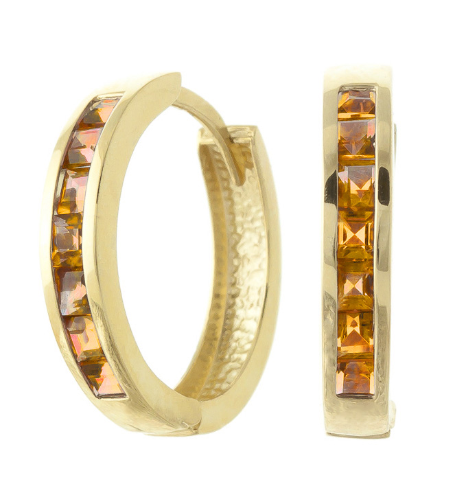 Citrine Huggie Earrings 1.2ct in 9ct Gold