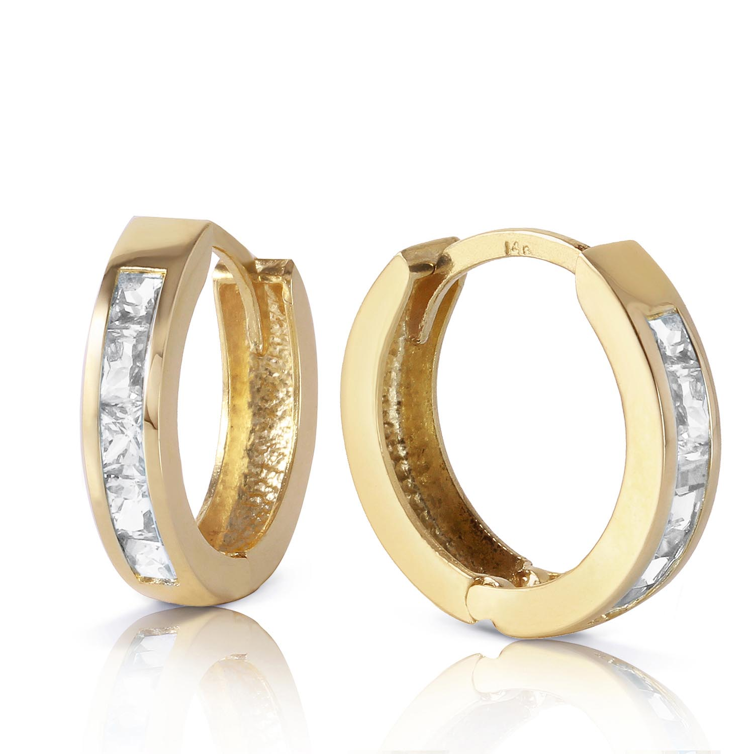 White Topaz Huggie Earrings 1.2ctw in 9ct Gold