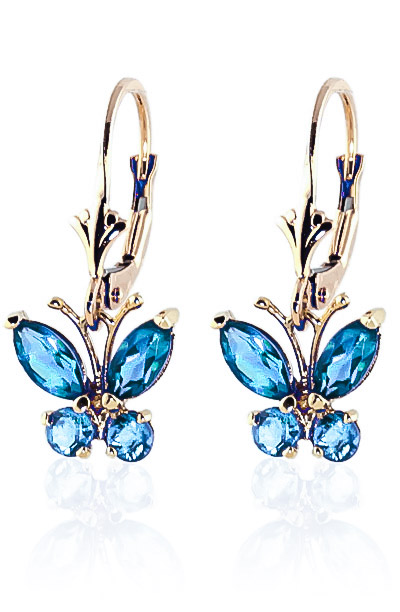 Blue Topaz Butterfly Drop Earrings 1.24ctw in 9ct Gold