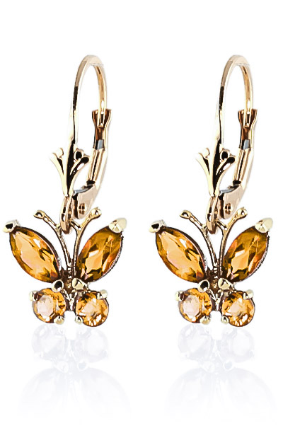 Citrine Butterfly Drop Earrings 1.24ctw in 9ct Gold