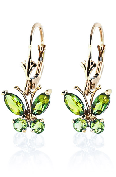 Peridot Butterfly Drop Earrings 1.24ctw in 9ct Gold