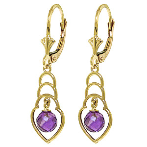 Amethyst Wireframe Drop Earrings 1.25ctw in 9ct Gold