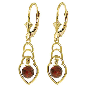 Garnet Wireframe Drop Earrings 1.25ctw in 9ct Gold